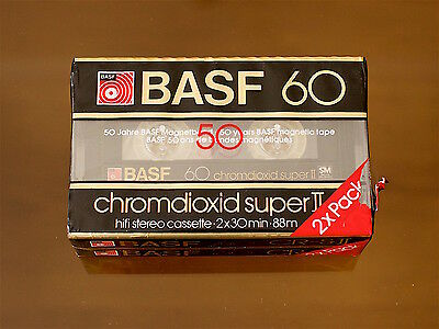 BASF Chromdioxid Super II-60 (2) SEALED BLANK AUDIO CASSETTE TAPEs. NEW RARE