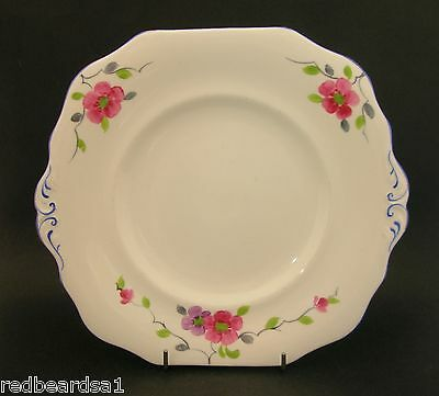 Vintage Cake Plate Hand Painted Pink Flowers Blue Trim England