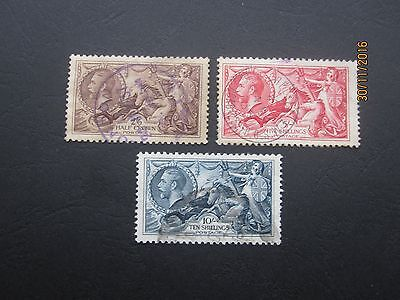 Gb Stamps - Kgv - 1934 Seahorses - Sg450-Sg451-Sg452 - Fine Used Two Scans