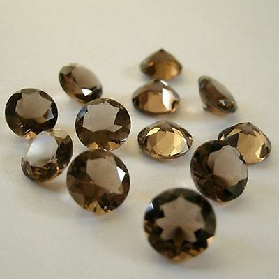 25 p.natural Smoky Quartz 4X4 mm round cut Faceted loose gemstone free shipping