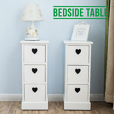 White Pair Bedside Units 3 Drawers W/Heart Cutout Chest Cabinets Side Table x 2