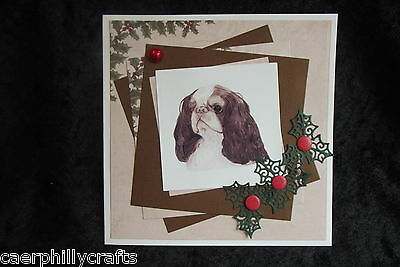 King Charles Spaniel Christmas Card Handcrafted by Curiosity Crafts