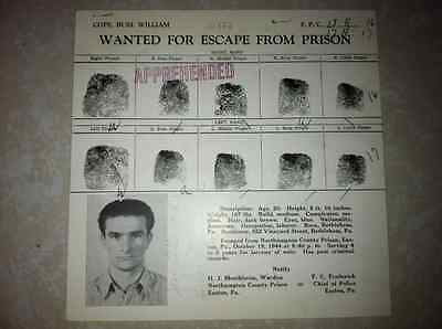 1944 Fbi Wanted/reward Poster For Escapee Buel Cope From Easton Pa Penitentiary