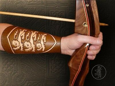 Hand Carved Leather Archery Bracer, Armguard. Three Lions Design