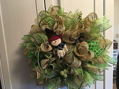 Deco Mesh ~26 Inch Green Christmas Snowman Wreath -  Wreath's And More By Terri