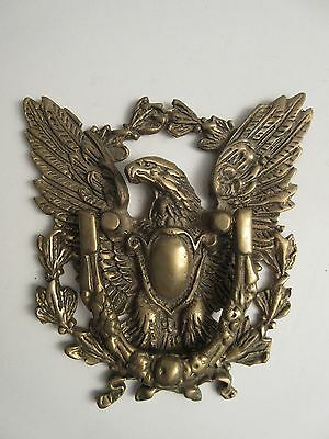 Antique Vintage Solid Brass American Eagle with Wreath Door Knocker
