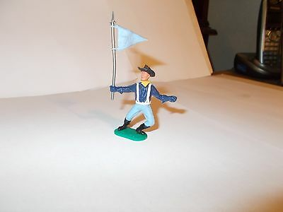 Vintage Timpo 7 Th Cavalery Foot Soldier With  Light Blue Flag