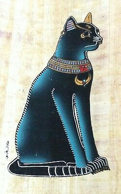 Original Egyptian Papyrus, CAT, Handmade painting 12 x 16 Cm