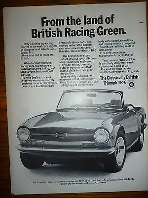 1971 Triumph TR-6 Ad From the land of British Racing Green
