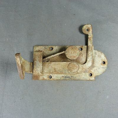 ANTIQUE FRENCH Wrough Iron Door Bolt Spring Lock Latch Country Rustic