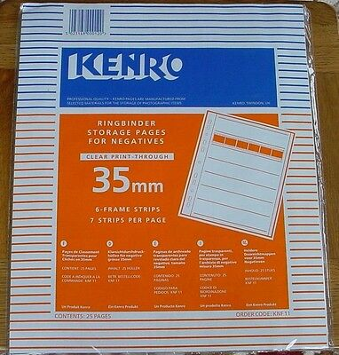 KENRO KNF 11 35mm NEG FILE PAGE CLEAR  WITH DATA INDEX CARD PACK OF 25 pages