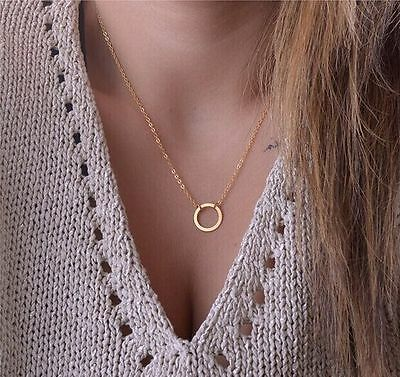 1pc Handmade simple style Gold Circle Karma Ring Necklace Jewelry beauty gift