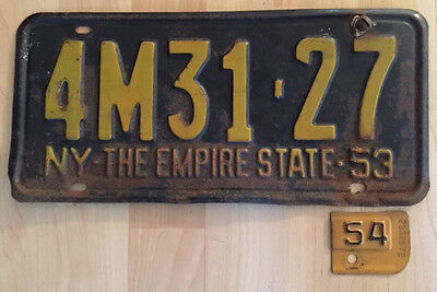 1953 New York license plate with 54 tab
