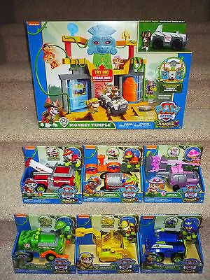 HUGE LOT........PAW Patrol Monkey Temple Jungle Playset & All 6 Jungle Vehicles