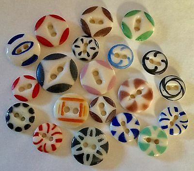 Lot 20 Antique China Stencil Buttons Old Variety Colors Patterns