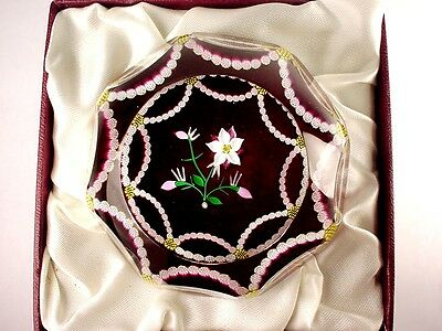 """Perthshire Paperweight """"columbine Weight"""" Faceted 1991 New Box Mint Cert.  Rare"""