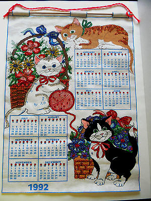 1992 Sequence Sweing Crafted 3 Kittens Blue White Fabric Calendar