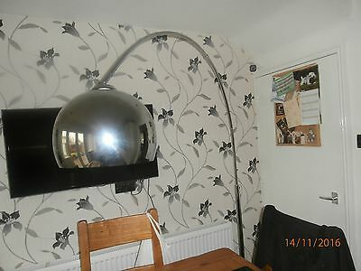 Retro Style Silver Chrome Marble Base Arco Style Arc Floor Standing Lamp.