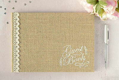 Hessian and Lace Rustic Wedding Guest Book. Vintage Burlap Wedding Guest Book.