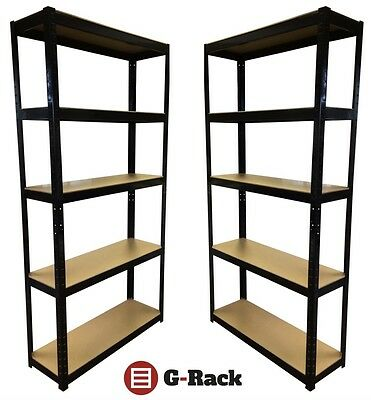 2 Bay Heavy Duty Boltless Garage Shed 5 Tiers Shelving Racking Free P&P 175kg