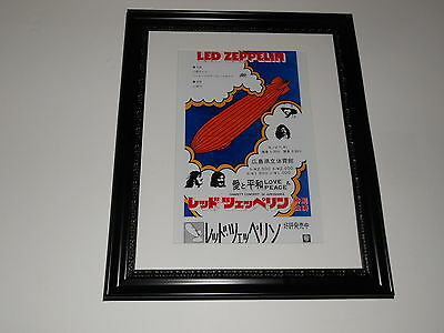 "Large Framed Led Zeppelin 1972 Charity Hiroshima Japan RARE Poster 24"" by 20"""