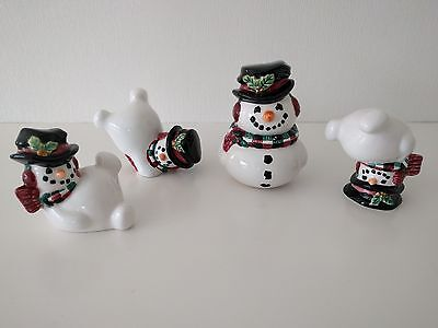 Fitz and Floyd Festive Snowman Set of 3 + Salt and Pepper Excellent Condition