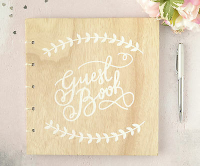 Personalised Wedding Guest Book. Rustic Vintage Wooden Printed Guest Book.