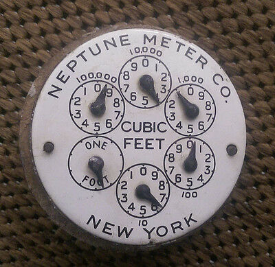 Antique*Neptune Meter Co. water gauge*face* no cover* porcelain* N.Y.* rare*