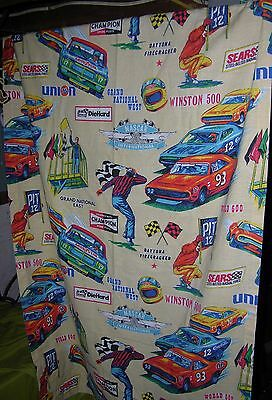 Vintage Nascar Sears Curtain Advertising Champion Coca Cola Stp Goodyear 76
