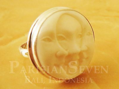 Beautiful Moon Three Face Carving Bali Sterling Silver 925 Ring Sz 6 7 8 9 M228