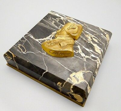 Antique Inscribed French Paperweight Signed Bronze Marble Napoleon The 1St C. De