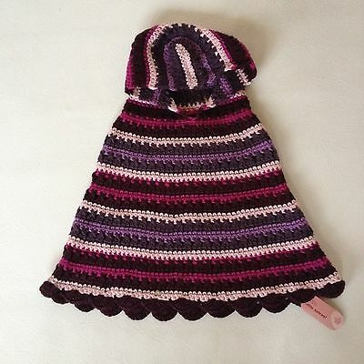 Bnwt M&s Girls Pink Hooded Jumper Poncho Age 4-5  Yrs New