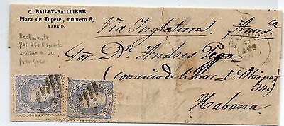 Spain.1870- Letter from Madrid to Habana