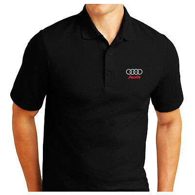 Audi Logo Embroidered Pique Polo Shirt Work Outdoor Sport Birthday Gift