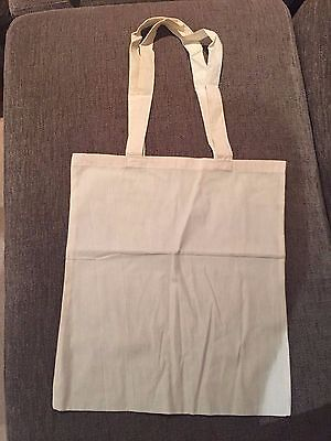10 x Long Handled Plain Cotton Bag 38cm x 42cm - Ideal For Fabric Painting