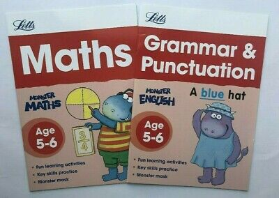 Maths Handwriting Phonics Spelling Grammar set of 4 Letts Workbooks Age 5-6 KS1
