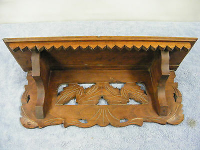 Carved Leaves Walnut Wood Clock Shelf -Black Forest Looking-