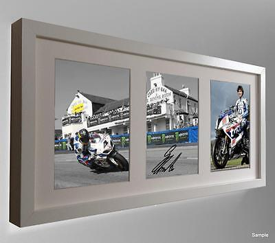 B/White Edition Signed Guy Martin 2014 Isle Man TT Autograph Photo Picture Frame