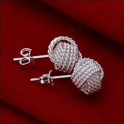 wholesale discount solid 925sterling silver jewellery net ball Earring xmas gift