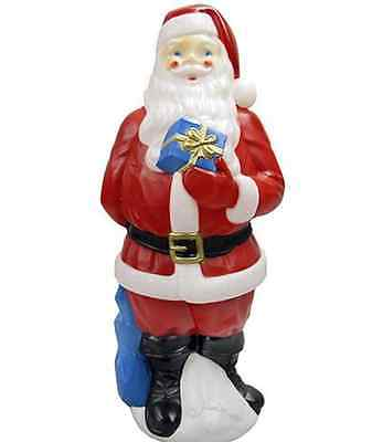 34 in. Outdoor Light-Up Blow Mold Santa Decoration Vintage Christmas Decor Yard