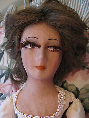 "Antique 46 "" Boudoir Bed Doll Mask Face Eye Lashes Human Hair ???"