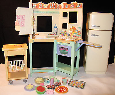 Vintage Barbie Kitchen + Accessories  + Refrigerator