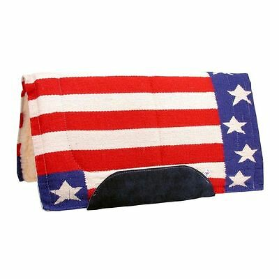Tough-1 Saddle Pad Stars Stripes Natural Wool Red White Blue 31-1776