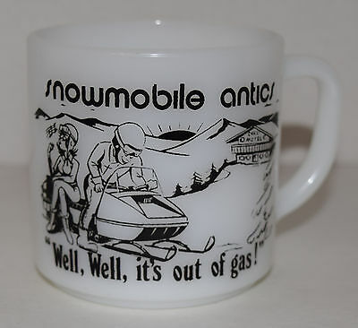 Federal Milk Glass Mug Snowmobile Antics Well,Well,it's out of gas !