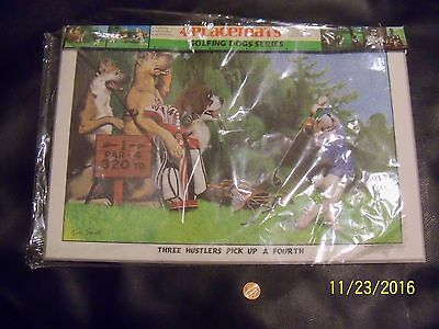 Vintage 1974 Golfing Dogs Vinyl Placemats , set of 4