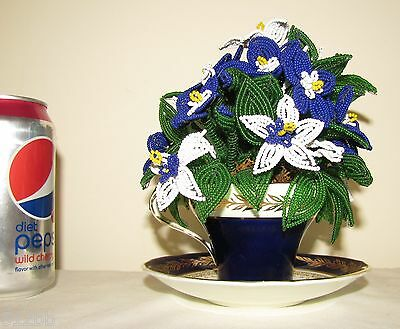Beaded French Seed Bead Flowers in Cobalt Blue & White Aynsley Cup & Saucer