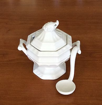 """Vintage 3 Piece Red Cliff Ironstone """"Grape"""" Miniature Tureen With Lid & Spoon"""