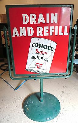 Conoco Motor Oil 50,000 Miles No Wear - Double Sided Sign In Frame And Stand