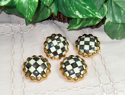 Set of 4 ~ MacKenzie-Childs COURTLY CHECK drawer pulls KNOBS
