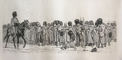 The Roll Call Lithograph In Progress by Elizabeth Thompson, Lady Butler 1874